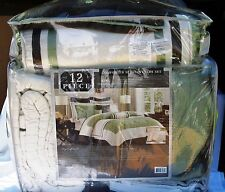 New! King 12 pc Comforter, Coverlet With Three Pillow Set, Green, Brown Ivory