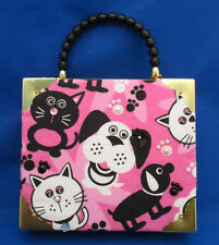 Fab Artisan Cigar Box Handbag Dovetail Velvet Lined Box Pink Black CATS DOGS 9""
