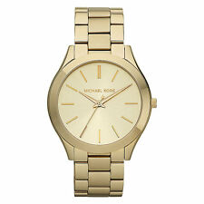 NEW MICHAEL KORS MK3179 LADIES GOLD SLIM RUNWAY WATCH - 2 YEAR WARRANTY