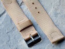 Tan nylon vintage military watch 20mm 2-pc vintage watch strap NOS from 1960s