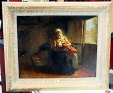 ORIGINAL ART Oil on Canvas BERNARD de HOOG Dutch 1863-1943 Mother Nursing Child