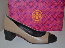NIB $280+ Tory Burch ETHEL Pump Shoes Clay Beige Black Sz 7 Gold Logo Flawless