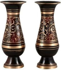 Decorative Brass 8 inch Flower Vase Set of 2  (Nakkashi-Work)