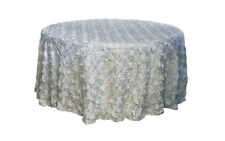 "120"" ROUND SILVER RIBBON ROSE ROSETTE SATIN TABLECLOTH"