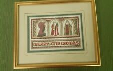 MERRY CHRISTMAS FRAMED GOLD PICTURE SANTA RUSSIA ASIA GERMANY