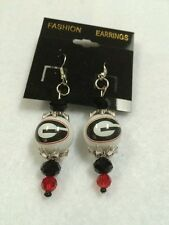 GEORGIA BULLDOGS HANDCRAFTED GLASS BEADED  EARRINGS HOOK STYLE  JEWELRY  CHARM