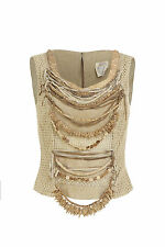 Alma taupe sleeveless beaded top. 1980s - Size Italy 38 (UK 10)