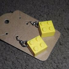NEW LEGO Yellow 4 Square Diamond Pierced Dangle Earrings GREAT GIFTS