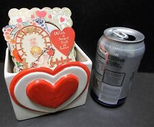 Vintage Valentines Day Heart Planter Candy Dish Card Holder Relpo Japan 7005