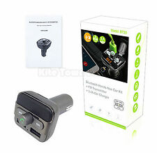 Bluetooth Handsfree Car Kit + FM Transmitter + 3.4A Car Charger Receiver Adapter