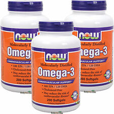 3 x NOW Omega-3 Molecularly Distilled Fish Oil, EPA DHA 200 Softgels, FREE SHIP