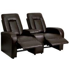 Flash Furniture Brown Leather 2-Seat Home Theater Recliner w/Storage Console NEW