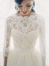 Elegant Bridal Wedding Top Bolero Jacket White/Ivory Lace 3/4 Sleeve Custom Size
