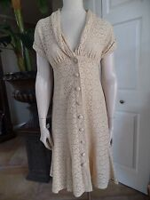 NANETTE LEPORE Cream Eyelet Lace Button Front Fit And Flare Sheath Dress 6