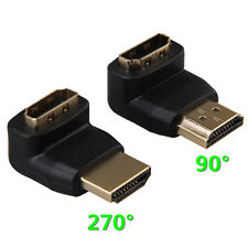 2pcs 90° Degree + 270° Degree HDMI Male to Female Right Angle Connectors Adapter