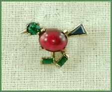 VINTAGE ALFRED PHILIPPE CROWN TRIFARI RED JELLY BELLY WALKING BIRD BROOCH PIN