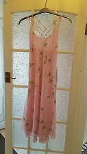 APART Ladies Long Pink Floral Strap Dress Size 14-VGC