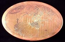 Art Deco Scovill Brass Jewelry Button Dresser Box Oriental Cherry Blossom Girl