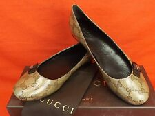 NIB GUCCI CRYSTAL BEIGE GG GUCCISSIMA COATED CANVAS GOLD TONE GG LOGO FLATS 39