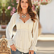 Sexy Women Casual V-Neck Long Sleeve Bell Sleeve T Shirt FlaredLoose Top Blouse