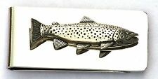 Brown Trout Pewter Design Money Clip FREE ENGRAVING Fishing Gift Present Award