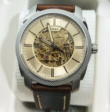 NEW with Tags Men's Fossil Machine Automatic Brown Leather Strap Watch ME3115