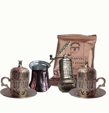 Turkish Shiny Silver Coffee Espresso Set, Cups Grinder Mill Cezve Coffee Gift