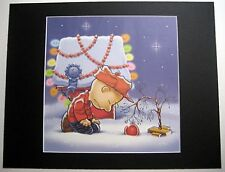 CHARLIE BROWN~11x14 Mat Print~RED ORNAMENT~TREE