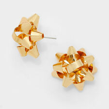 "Bow Earrings Christmas Gift Ribbon Metal 5/8"" Stud Holiday Jewelry GOLD Party"