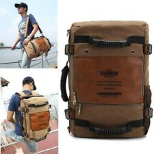 KAUKKO Man Vintage Canvas Laptop Backpack School Messegner Shoulder Bag Gym 210U