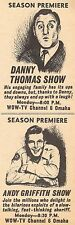 1961 WOW TV AD~ANDY GRIFFITH SHOW~DANNY THOMAS~OMAHA,NEBRASKA~SEASON PREMIERE'S