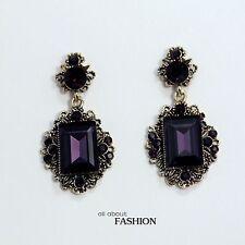 Boucles d`Oreilles Clous Doré Verre Facetté Violet Art Deco Vintage Mariage YW3