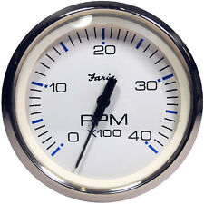 """Faria Chesapeake White SS 4"""""""" Tachometer - 4,000 RPM (Diesel - Magnetic Pick-Up)"""