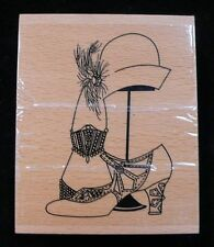 FASHION Rubber Ink Stamp on Beech Block - Hat, Shoe etc. - Free UK P&P
