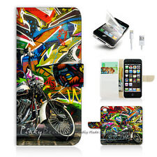 iPhone 5 5S Print Flip Wallet Case Cover! Graffiti And Motocycle P0340