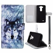 For LG G3 Vigor D725 Wallet Snow Wolf Cover Uni Case Split  Leather