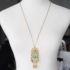 Fashion Lady Owl Rhinestone Crystal Pendant Long Sweater Chain Necklace Jewelry