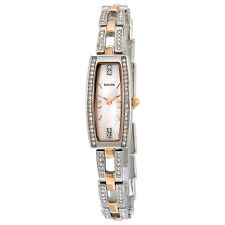 Bulova Crystal Mother Of Pearl Dial Two Tone Ladies Watch 98X110