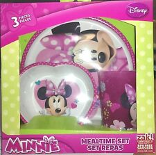 Disney Minnie Mouse Mealtime Dinnerware Set Includes Plate Bowl and Cup-New!