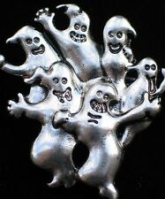 PEWTER HALLOWEEN RIP GRAVE SITE SPOOKY FLYING GHOST GHOSTS FAMILY PIN BROOCH 1.5