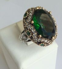 TURKISH HANDMADE EMERALD TOPAZ STERLING SILVER 925K RING SIZE 8,5