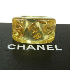 Auth CHANEL Vintage CC Logos Ring Yellow Plastic Size 6.5 Accessories K07058