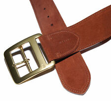 Polo Ralph Lauren Mens Wide Vintage Suede Leather Belt Italy Brown Brass 34