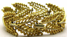 "Vintage 7"" 21mm TRIFARI Leaf Bracelet Chunky Links Cutouts Domed Nice Gold Tone"