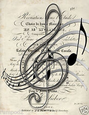 Music Poster/Print/Musical Notes/Treble Cleff/Antique Music/Sheet Music/17x22 in