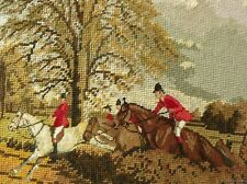 Vintage Completed Needlepoint Canvas Tapestry ~Autumn HUNTING FOX Horses ANTIQUE