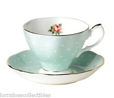 Royal Albert POLKA ROSE 100 YEARS COLLECTION TEA CUP & SAUCER (S) NEW