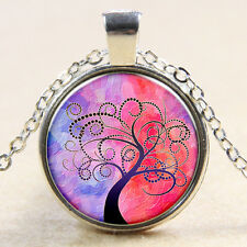 VintageTree of Life Cabochon Tibetan silver Glass Chain Pendant Necklace #s51