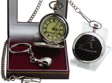 MUHAMMAD ALI Signed Pocket Watch and Boxing Glove Keyring Luxury Set Gift Case