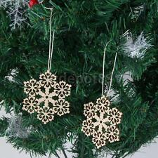 10 Rustic Wood Sectored Snowflake Nordic Christmas Tree Hanging Decor Craft